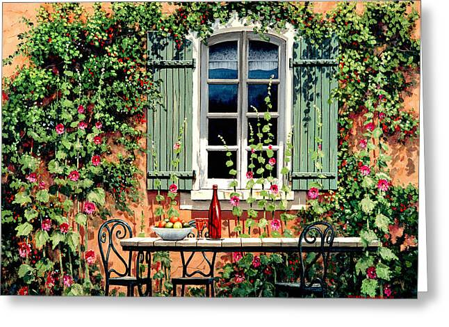 French Windows Greeting Cards - Mediterranean Memories - Oil Greeting Card by Michael Swanson