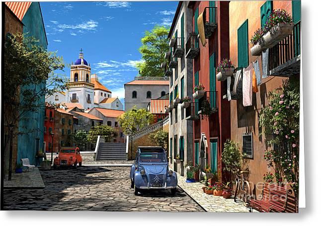Mediterranean Village Greeting Cards - Mediterranean Morning Greeting Card by Dominic Davison