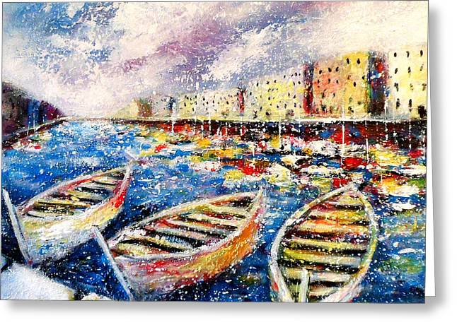 Mccoy Paintings Greeting Cards - Mediterranean Port Colours Greeting Card by K McCoy