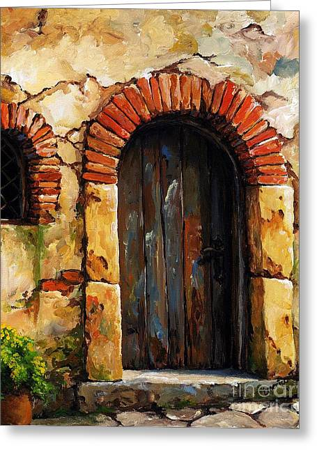 Portal Paintings Greeting Cards - Mediterranean portal 02 Greeting Card by Emerico Imre Toth