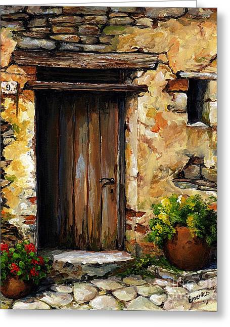 Entry Greeting Cards - Mediterranean portal Greeting Card by Emerico Imre Toth