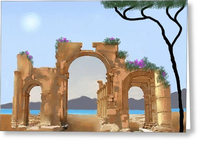 Mediterranean Ruins Greeting Card by Larry Cirigliano