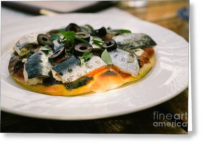 Mediterranean Sardine Pizza Greeting Card by Dean Harte
