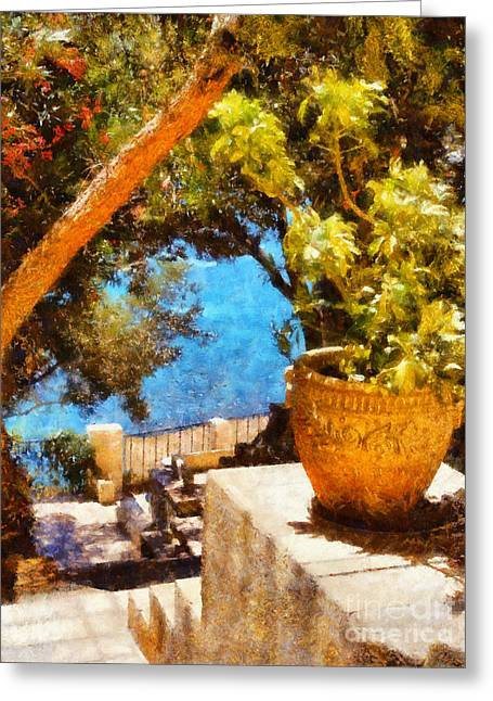 Warm Summer Greeting Cards - Mediterranean steps Greeting Card by Pixel Chimp