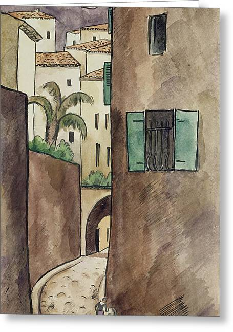 Mediterranean House Greeting Cards - Mediterranean Street and Houses Greeting Card by Louis Robert Antral