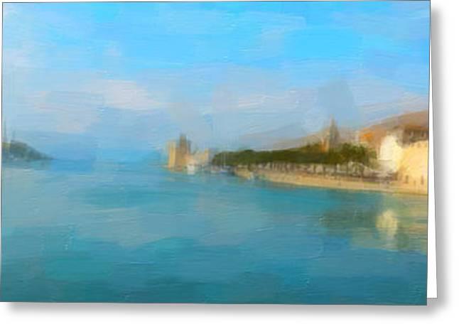 Mediterranean Landscape Digital Art Greeting Cards - Mediterranean sunrise Greeting Card by George Bailey