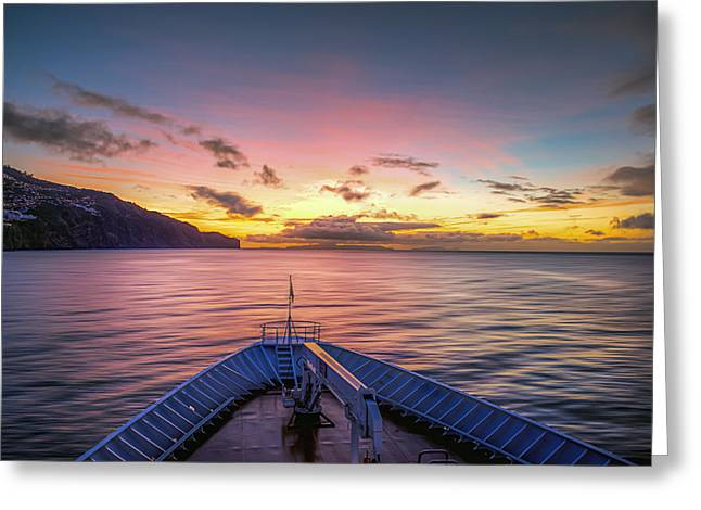 Ocean. Reflection Greeting Cards - Mediterranean Sunrise Greeting Card by Maria Coulson