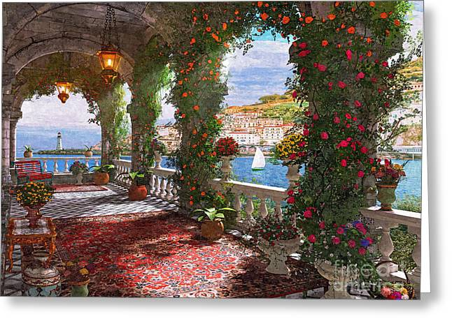 Veranda Greeting Cards - Mediterranean Veranda Greeting Card by Dominic Davison
