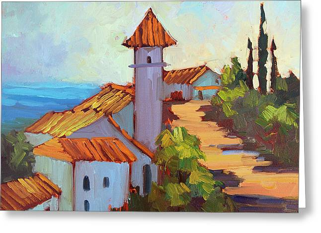 Kasbah Greeting Cards - Mediterranean Village Costa Del Sol Greeting Card by Diane McClary