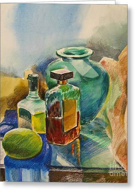 Glass Vase Drawings Greeting Cards - Mediterranean winter still life  Greeting Card by Anna Lobovikov-Katz