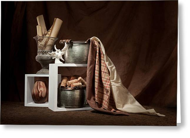 Brown Toned Art Greeting Cards - Medley of Textures Still Life Greeting Card by Tom Mc Nemar