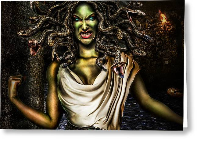 Angry Face Greeting Cards - Medusa Greeting Card by Alessandro Della Pietra