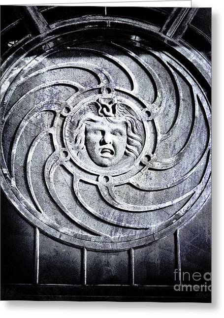 Asbury Park Carousel House Greeting Cards - Medusa Black and White Greeting Card by Colleen Kammerer