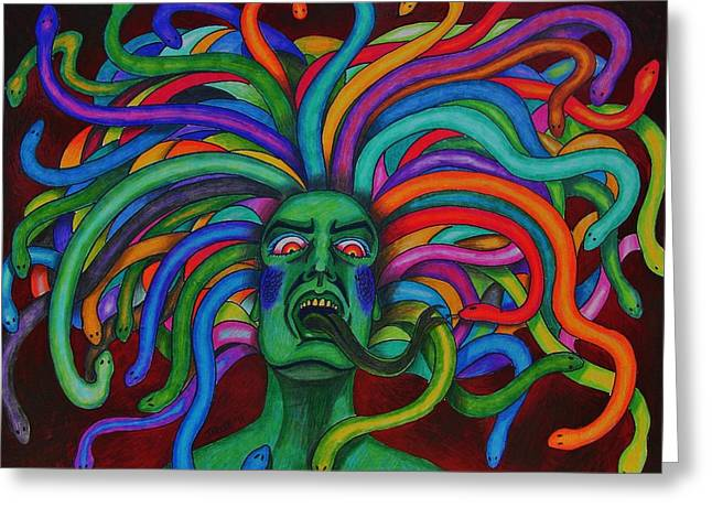 Medusa Mixed Media Greeting Cards - Medusa II Greeting Card by Jeremy Moore