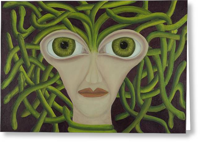 Coqle Aragrev Greeting Cards - Medusa in Purple Greeting Card by Coqle Aragrev