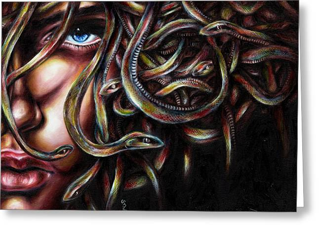Stylish Paintings Greeting Cards - Medusa No. two Greeting Card by Hiroko Sakai