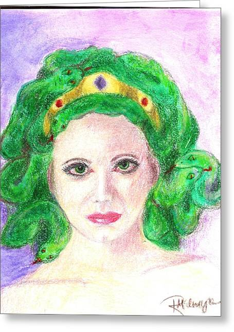 Medusa Mixed Media Greeting Cards - Medusa Greeting Card by Ronine McIntyre