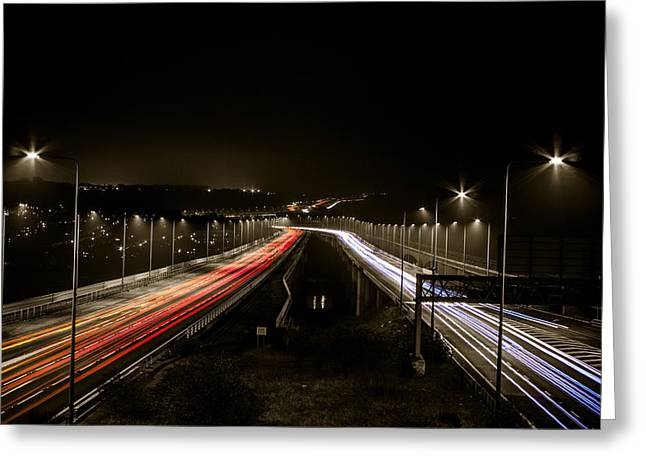 Medway Greeting Cards - Medway Bridge - Traffic Trails Greeting Card by Ian Hufton