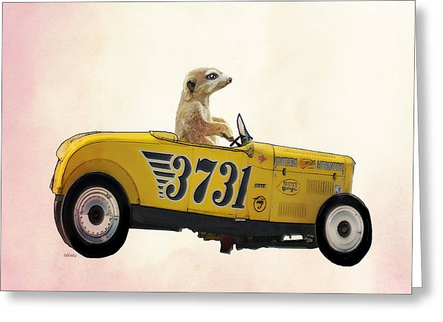 Meerkat And Hot Rod Greeting Card by Kelly McLaughlan