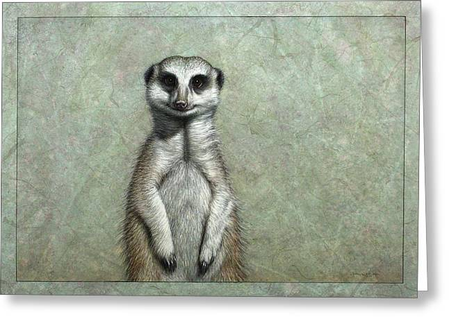 African Drawings Greeting Cards - Meerkat Greeting Card by James W Johnson