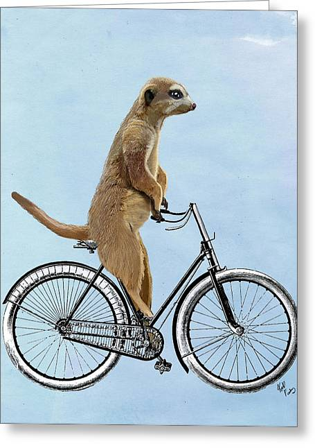 Meerkat On A Bicycle Greeting Card by Loopylolly