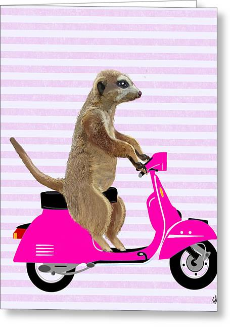 Meerkat On A Pink Moped Greeting Card by Kelly McLaughlan