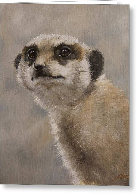 Dry Lake Greeting Cards - Meerkat portrait I Greeting Card by John Silver