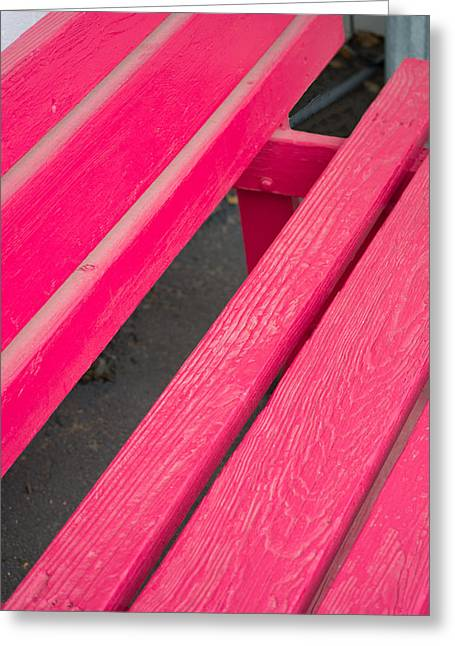 Wimberley Greeting Cards - Wimberley Texas Market Red Bench Greeting Card by JG Thompson