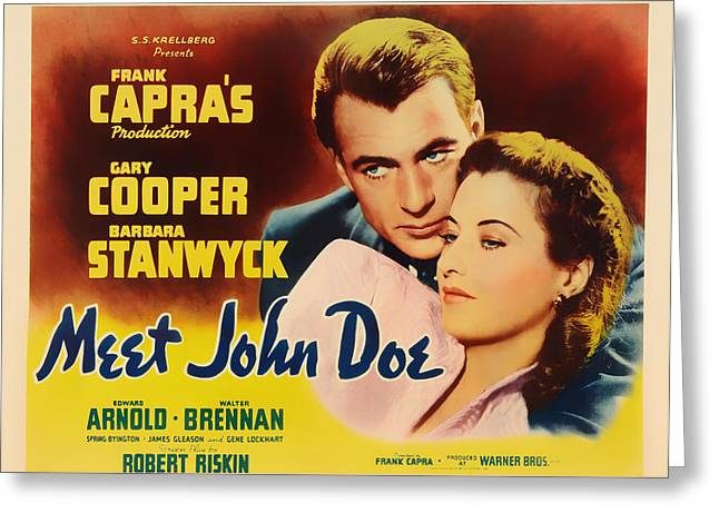 Historical Pictures Mixed Media Greeting Cards - Meet John Doe Movie Poster Greeting Card by Mountain Dreams