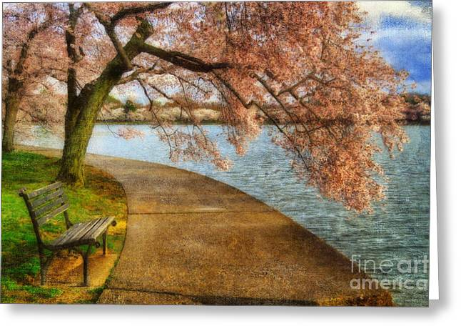 Meet Me At Our Bench Greeting Card by Lois Bryan