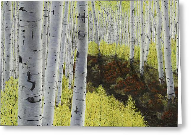 Huckleberry Paintings Greeting Cards - Meet Me At Our Secret Spot Where the Huckleberries Dance within the Aspen Grove Greeting Card by Betsie Richardson