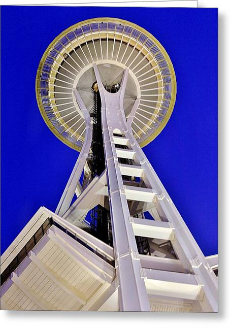 Urban Space Greeting Cards - Meet Me At The Needle Greeting Card by Benjamin Yeager