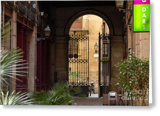 Meet Me For Coffee In The Courtyard Greeting Card by Rene Triay Photography