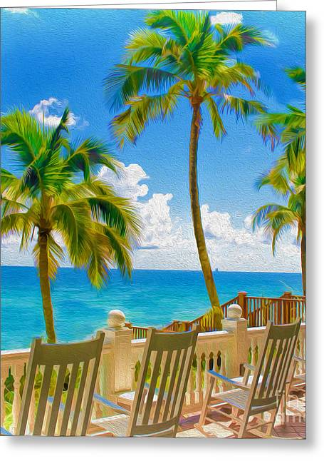 Meet Me On The Porch By The Beach Greeting Card by Mary Ann Tardif