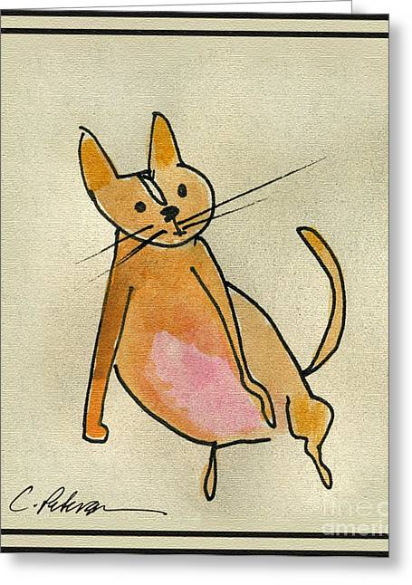 Ventura California Greeting Cards - Meet Squeeze. Oh how to love a fat cat. Greeting Card by Cathy Peterson