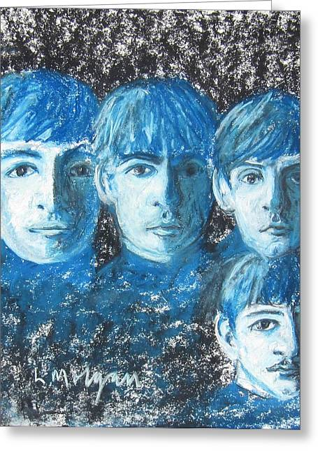 George Harrison Pastels Greeting Cards - Meet the Beatles Greeting Card by Laurie Morgan