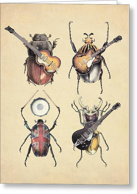 Rocks Drawings Greeting Cards - Meet the Beetles Greeting Card by Eric Fan