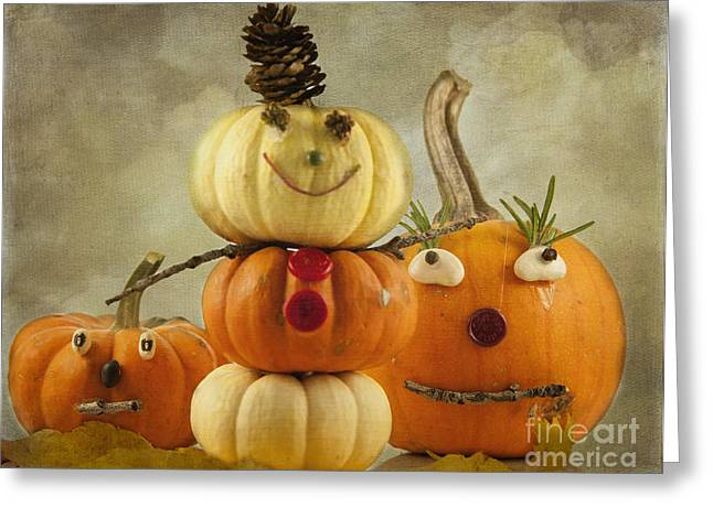 Fresh And Healthy Greeting Cards - Meet the Pumpkins Greeting Card by Juli Scalzi