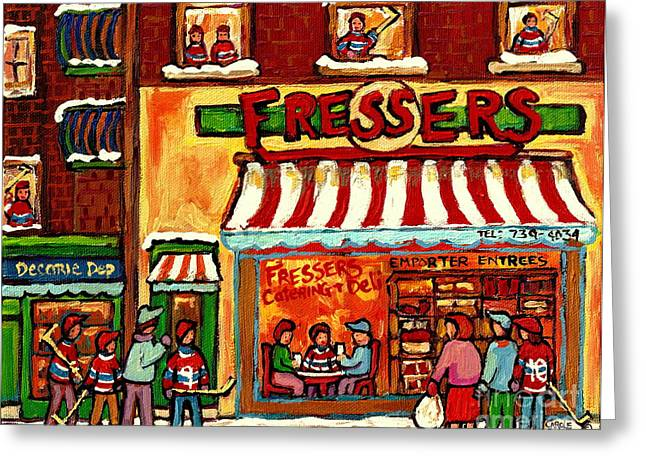 Caterer Greeting Cards - Meet Up At Fressers After The Hockey Game Montreal Winter City Scenes Painting Carole Spandau Greeting Card by Carole Spandau