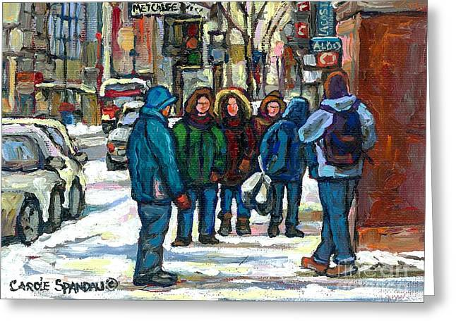 Ste Catherine Greeting Cards - Meeting On Metcalfe Downtown Near Aldo Shoes Canadian Urban Winter Scene Painting Best Montreal Art Greeting Card by Carole Spandau