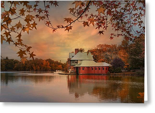 Meeting at the Lodge Greeting Card by Robin-lee Vieira