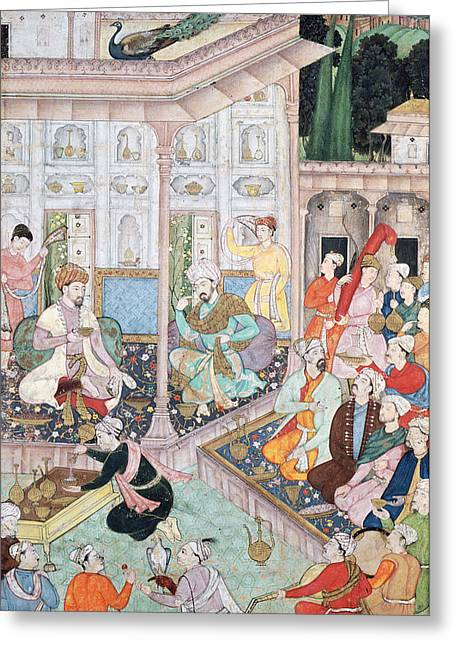 Manuscript Greeting Cards - Meeting Between Babur And Bedi Az Zaman Mirza, 16th-17th Century Gouache On Paper Greeting Card by Indian School