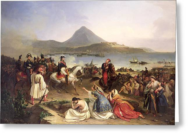 Liberation Greeting Cards - Meeting Between General Nicolas Joseph Maison 1771-1840 And Ibrahim Pasha 1789-1848 At Navarino Greeting Card by Jean Charles Langlois