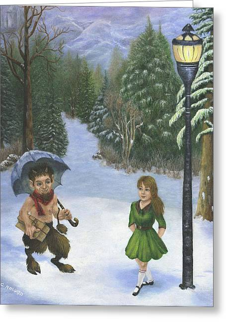 The Lion Witch Wardrobe Greeting Cards - Meeting By the Lamp-Post Greeting Card by Catherine Howard