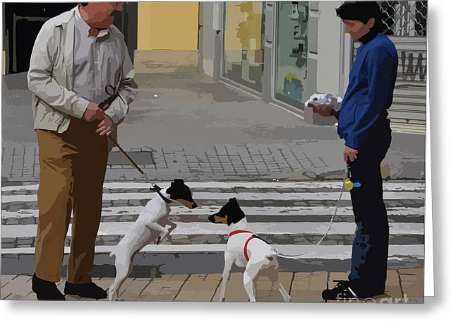 Crosswalk Greeting Cards - Meeting for the First Time - Seville Greeting Card by Mary Machare