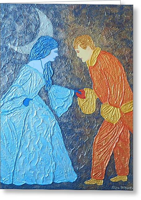 Contemporary Reliefs Greeting Cards - Meeting in a Dream Greeting Card by Liza Wheeler