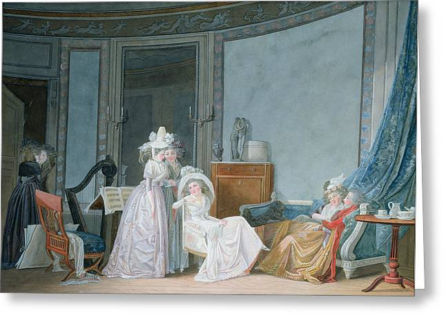 Reunion Greeting Cards - Meeting In A Salon, 1790 Gouache On Paper Greeting Card by Jean Baptiste Mallet
