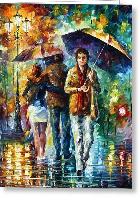 Umbrellas Greeting Cards - Meeting My EX Greeting Card by Leonid Afremov