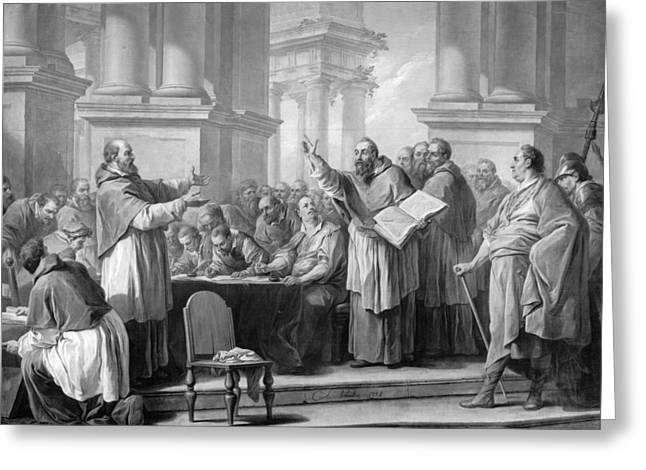 The Church Greeting Cards - Meeting Of St. Augustine And The Donatists Oil On Canvas Bw Photo Greeting Card by Carle van Loo