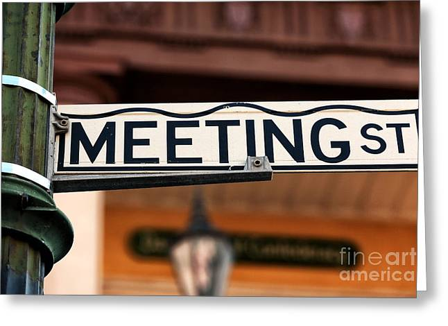 Meeting Photographs Greeting Cards - Meeting St Greeting Card by John Rizzuto